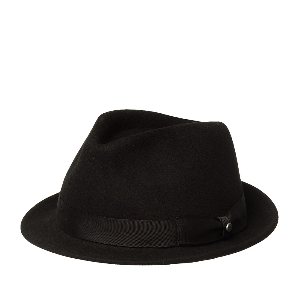 Шляпа трилби STETSONШляпы<br>TRILBY - стильная шляпа от STETSON, изготовленая из шерсти наивысшего качества по технологии Asahi Guard. Данный метод производства позволяет создать покрытие обеспечивающее защиту от воды и масляных пятен при этом сохраняя текстуры, цвет и воздухопроницаемость материала. Тулья украшена репсовой лентой с пером. Ее высота - 9,5 см. Ширина полей - 4 см. Внутри по окружности пришита мягкая хлопковая лента для комфортной посадки по голове.