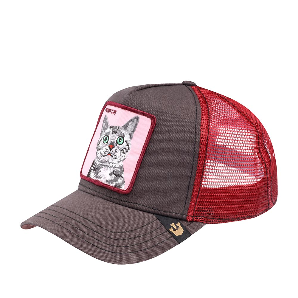 """Бейсболка с сеточкой GOORIN BROTHERSБейсболки<br>Pussy Cat - бейсболка из коллекции Animal Farm (Наша ферма) для смелых и дерзких. Регулируется по охвату головы. На передней панели выполнена аппликация с изображением удивлённой кошки и надпись """"Pussy Cat"""", имеющая два значения. В классическом переводе это означает quot;Домашняя кошечкаquot;, а в американском сленге – """"Киска"""" или буквально quot;П..даquot;. Эпатаж в духе современной молодёжи. Длина козырька - 7см. Глубина бейсболки - 11см"""