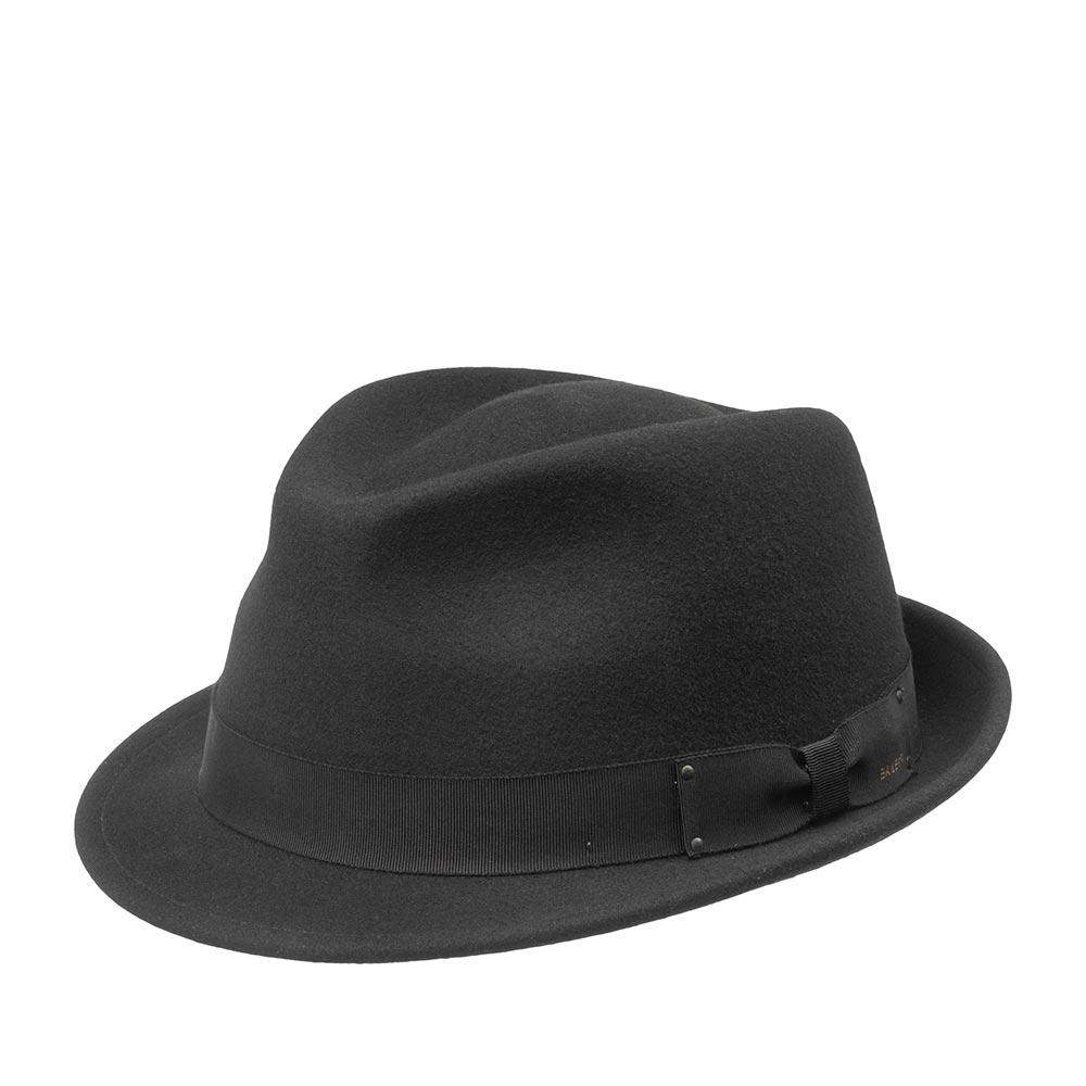 Шляпа трилби BAILEYШляпы<br>WYNN - это трилби от BAILEY. Модель изготовлена из шерсти прекрасного качества по технологии LiteFelt. Это революционная пропитка, которая добавляет материалу водоотталкивающие свойства, прочность и способность дольше сохранять и быстро восстанавливать форму. Даже если Вы отправились в далекое путешествие, ее можно сворачивать в трубочку и убирать в багаж. Классическая форма и лаконичный дизайн WYNN позволят очень легко подобрать к ней гардероб. Тулья украшена тонкой репсовой лентой с бантом. Внутри по окружности головного убора нашита хлопковая лента для комфортной посадки по голове. Высота тульи - 9 см, ширина полей - 4,5 см. Производство - США.