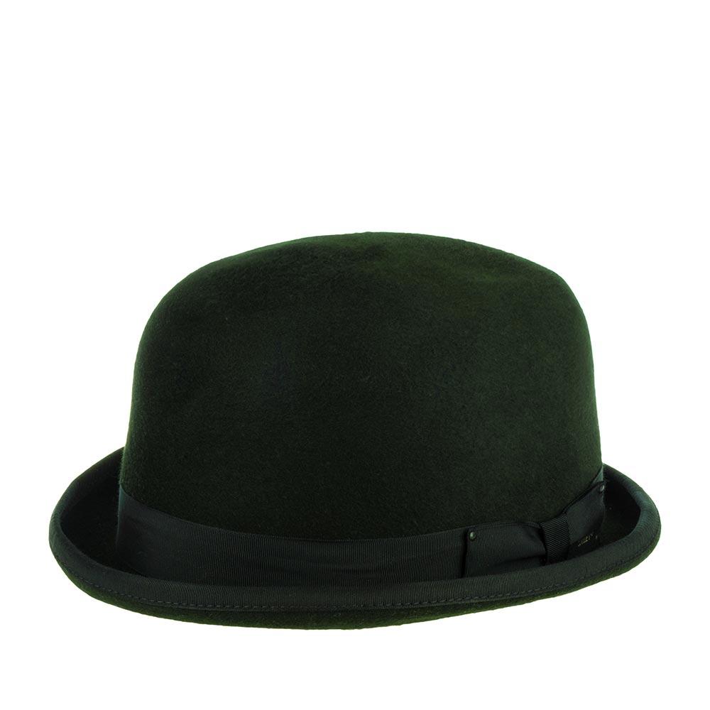 Шляпа котелок BAILEYШляпы<br>Harker - роскошный котелок, сшитый в США из высококачественной шерсти всемирно известным производителем головных уборов Bailey. Дизайнеры взяли фасон этой шляпы в архивах и довели его до совершенства, придав более современную форму, добавив изысканную полировку поверхности, для блеска, и невероятный, глубокий, тёмно-изумрудный цвет. Котелок хорошо держит форму. Если Вам необходимо выглядеть элегантно, либо разбавить casual образ классическим аксессуаром, то благородный Harker сделает эту работу для Вас! Модель украшена съёмным пером чёрного цвета, шелковистой лентой в тон шляпе, с элегантным бантом и маленьким полированным логотипом Bailey. Поля аксессуара также отделаны шелковистой лентой. Внутри головного убора пришита атласная подкладка и лента по окружности, для удобства посадки на голову. Высота тульи - 12 см, ширина полей от тульи до изгиба - 2 см. Рисунок подкладки может отличаться от изображения.
