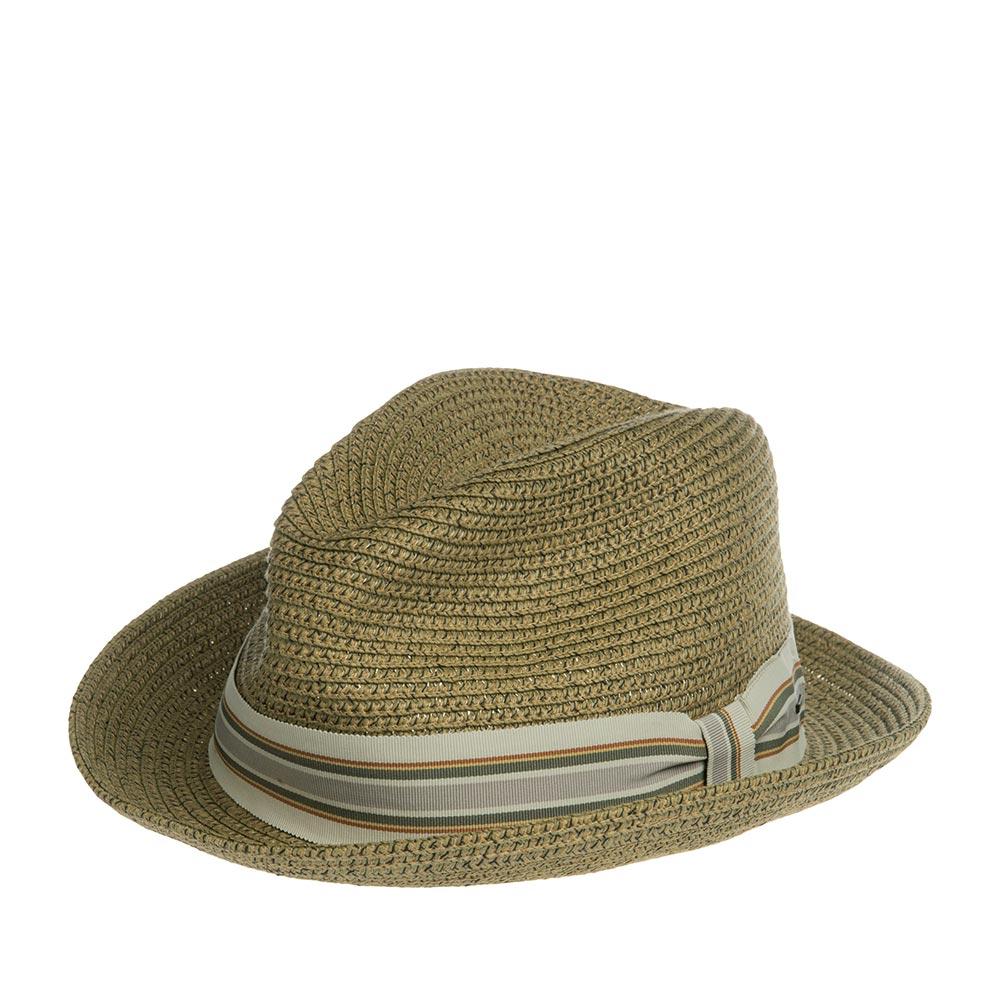 Шляпа хомбург BAILEYШляпы<br>SALEM - летняя федора от BAILEY из коллекции Breed, изготовленная из бумаги с добавлением синтетической нити, за счет чего головной убор прекрасно держит форму. Шляпы из бумаги очень лёгкие, вентилируемые. Яркая полосатая лента украшает тулью шляпы высотой - 10 см. Поля шириной 5,5 см зафиксированы в положение вверх, но их можно регулировать опускать или поднимать, создавая свой неповторимый стиль. Внутри по окружности пришита мягкая хлопковая лента для комфортной посадки по голове.