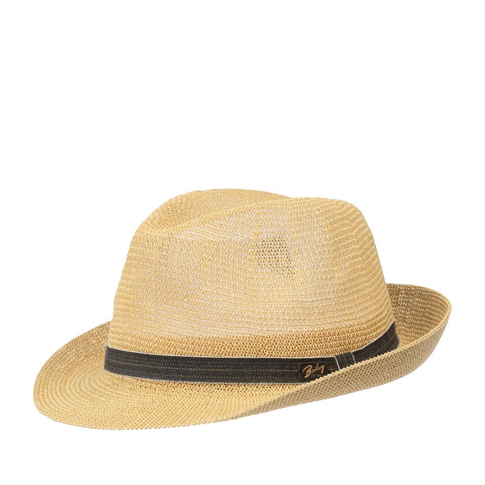 Шляпа федора BAILEYШляпы<br>Elliott - лёгкая федора от Bailey. Стильная, отлично вентилируемая шляпа тонкого плетения, которая практически не ощущается на голове. Классическая форма модели, а также натуральный бежевый цвет хорошо освежат и дополнят практически любой летний образ, начиная от шорт, майки, летнего костюма и заканчивая сарафаном. Классическая форма федоры, с А-образной тульей подойдёт к каждой форме лица. Материал головного убора пластичен, хорошо садится на голову. Шляпа держит форму, поля средней длины зафиксированы в положении: переднее - вниз, заднее - вверх. Тулья модели украшена лаконичной репсовой лентой серого цвета, с контрастной прострочкой, перетяжкой, а также деревянным логотипом бренда Bailey. Внутри пришита мягкая лента для комфортной посадки на голову. Elliott добавит в Ваш образ изюминку, защитит глаза от солнечных лучей и пригодится даже в самый жаркий денёк! Высота тульи в видимой части - 11 см, ширина полей - 5 см.