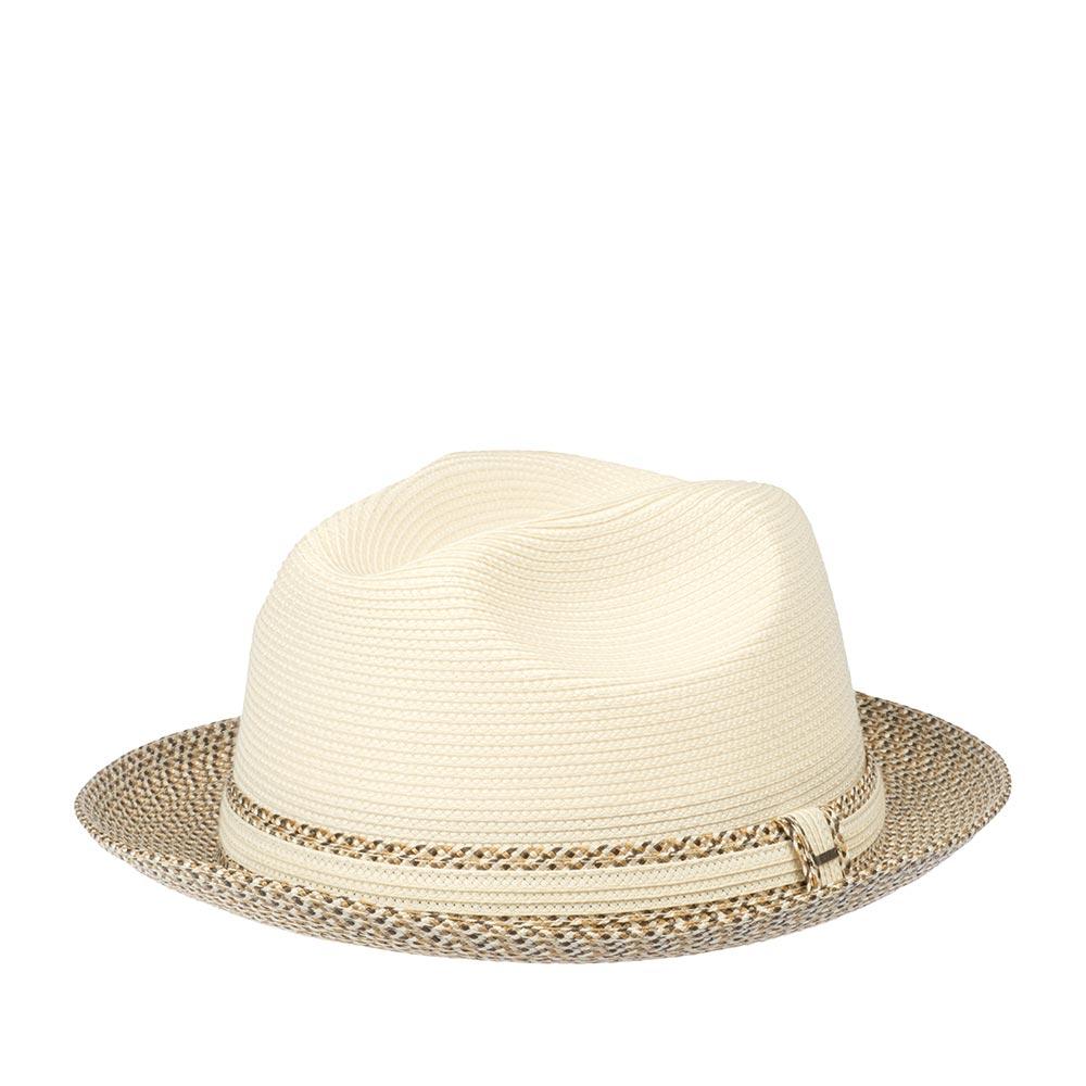 Шляпа федора BAILEYШляпы<br>Mannesroe - замечательная, летняя, плетёная шляпа от Bailey. Лёгкая, вентилируемая модель комфортно садится на голову за счёт мягкости и эластичности, при том, что головной убор отлично держит форму. Поля, по желанию, можно поднять полностью вверх, для создания открытого образа, либо опустить переднее поле вниз, для дополнительной защиты глаз от солнца. Шляпа украшена лентой из идентичного материала с перетяжкой, которая обозначена маленькой скобкой с названием бренда Bailey. Простая и, в то же время, стильная шляпа на каждый день и для выхода, подойдёт для ношения и в городе, и на отдыхе. Вам понравится цветовое решение аксессуара - сочетание кремовой тульи и полей с лёгким бежево-коричневым узором, это позволит носить её с максимальным количеством одежды летнего гардероба. Лёгкая, непринуждённая Mannesroe всегда будет к месту! Внутри пришита мягкая лента для комфортной посадки на голову. Высота тульи - 12 см, ширина полей - 5,3 см.
