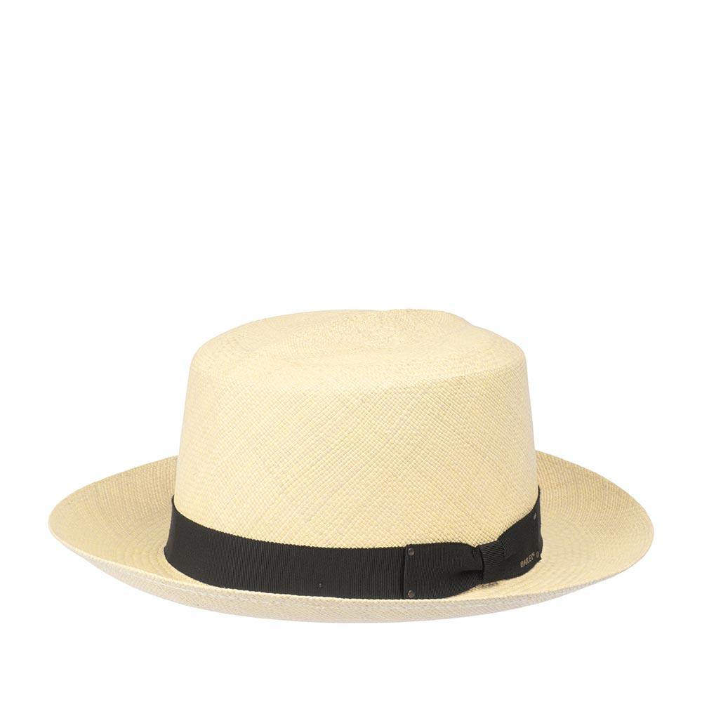 Шляпа канотье BAILEYШляпы<br>Roll up II - великолепная модель канотье от Bailey. Обратите внимание на небольшой quot;гребеньquot; на короне головного убора, он сделан для удобного сворачивания шляпы трубочкой, за счёт чего её удобно носить с собой в багаже, сумке, или широком кармане пляжных шорт. Сплетена модель эквадорскими мастерами, о чём свидетельствует их фирменная quot;печатьquot; внутри тульи, доведена до совершенства в США. Материалом изготовления послужила тонкая, эластичная и прочная соломка Бриса. Головной убор хорошо держит форму, поля слегка изогнуты вверх. Тулья украшена репсовой лентой чёрного цвета с бантом. К шляпе прилагается мешочек, с наглядной инструкцией правильного сворачивания шляпы. Внутри пришита лента для комфортной посадки на голову. Обратите внимание - аксессуар не должен храниться в таком quot;скрученномquot; виде, эта функция сделана только для временного пользования - перевозки, ношения в кармане и пр. Бережно любите и носите Roll up II и он ответит Вам благодарнее во сто крат! Высота тульи - 11 см, ширина полей - 6,3 см.