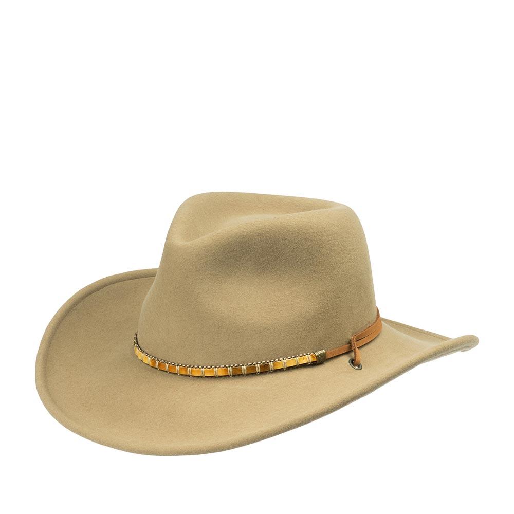 Шляпа ковбойская BAILEYШляпы<br>Columbia - мягкая, универсальная, ковбойская шляпа, изготовленная мастерами Bailey для Вашего максимального комфорта. Этот головной убор - прекрасный вариант для путешествий, пикника, прогулки, всего, что связано с природой, нахождением на воздухе, и, конечно же, для создания эффектного casual и кантри образа. Модель изготовлена в США из высококачественного фетра, с применением уникальной технологии Lite Felt - это революционная пропитка, которая добавляет материалу водоотталкивающие свойства, прочность и способность дольше сохранять и быстро восстанавливать форму. Чтобы головной убор надёжно сидел на голове при порывах ветра по бокам шляпы добавлены кожаные утяжки с деревянным регулятором. Достаточно широкие поля надежно защитят лицо и шею от солнца и дождя. Тулья шляпы украшена ремешком из кожи и дерева, который удачно оттеняет аксессуар. Внутри шляпы пришита лента, для удобной посадки на голову. Высота тульи: 11 см, ширина полей - 8,5 см
