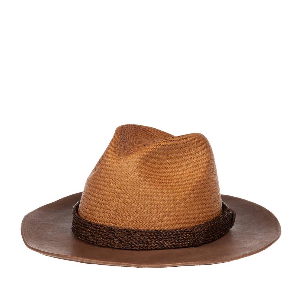 Шляпа федора BAILEYШляпы<br>PERLOFF - соломеная шляпа федора коричневого цвета. Она прекрасно сочетает в себе два материала: солому и натуральную кожу. Это смелое дизайнерское решение позволило из соломенной панамы создать смелую ковбойскую шляпу с эстетикой Дикого Запада. Тулью шляпы украшает лента, сплетенная из натурального конского волоса. Производство США.