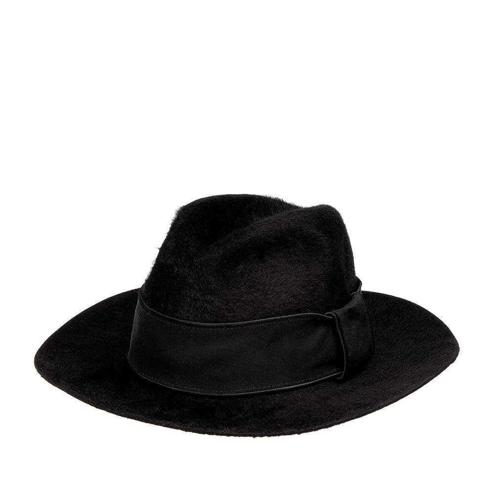 Шляпа федора BAILEYШляпы<br>DORAN - шикарная федора от BAILEY, изготовленная из пуха кролика и бобра. Шляпа мягкая, гладкая и приятная на ощупь. Очень лёгкая модель, практически не ощущается на голове. Не отстроченный край головного убора - высокий показатель качества велюра! Переднее поле можно загнуть наверх для создания открытого образа, либо опустить вниз для более классического вида. Тулью украшает широкая репсовая лента с атласной окантовкой. Высота тульи - 10 см., ширина полей - 7,5 см. Внутри шляпа полностью на подкладке, а по окружности пришита мягкая лента для комфортной посадки по голове. Производство - США.
