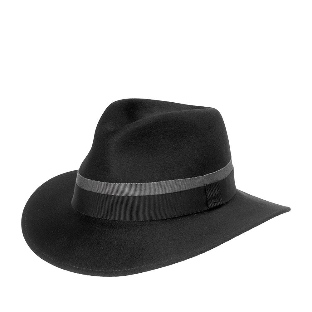Шляпа федора BAILEYШляпы<br>финишной отделкой, которая делает поверхность материала бархатистой, блестящей и придает головному убору витражный вид. Двойная лента прекрасно подчёркивает особенную текстуру материла. Классическая модель подойдет, как для ежедневной носки, так и для выхода на светский раут. Внутри головного убора пришита шелковая подкладка и лента по окружности для комфортной посадки по голове. Высота тульи - 9 см. Ширина полей - 6 см. Производство - США.