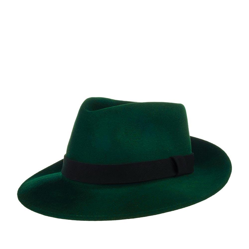 Шляпа федора BAILEYШляпы<br>LANTH - федора от BAILEY. Эта модель изготовлена из шерсти наивысшего качества с финишной отделкой, которая делает поверхность материала бархатистой, блестящей и придает головному убору витражный вид. Тулью украшает войлочная лентой из замши для текстурного и цветового контраста. Поля LANTH зафиксированы в положение вверх, но их можно регулировать по своему вкусу и предпочтению. Внутри головного убора пришита шелковая подкладка и лента по окружности для комфортной посадки по голове. Высота тульи - 10 см., ширина полей - 7 см. Производство - США.