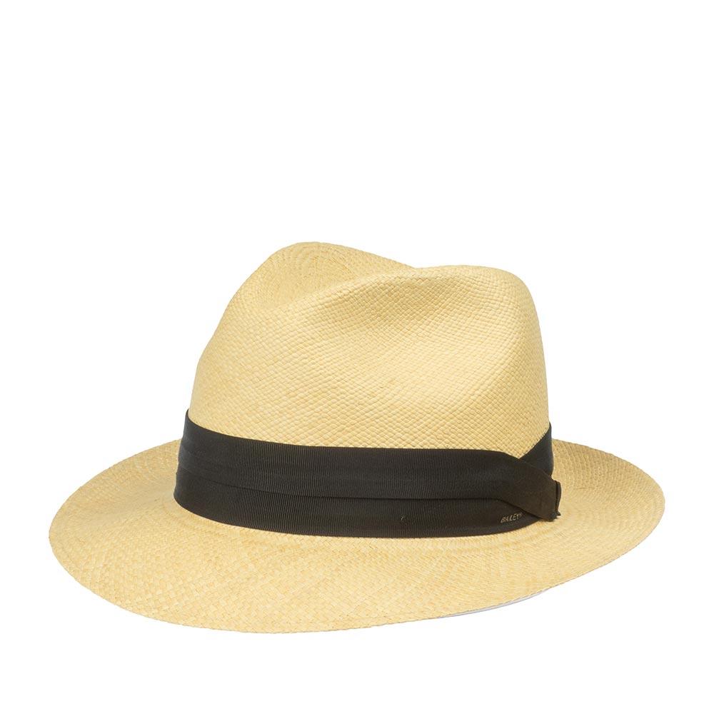 Шляпа федора BAILEYШляпы<br>CUBAN - панама от BAILEY, изготовленная в Эквадоре из соломы Токилья, чему свидетельствует печать местных мастеров внутри шляпы. Конечную форму и финишную отделку DriLex ей придали в США. Тулья украшена японский двухслойной лентой quot;grosgrainquot;. CUBAN является частью коллекции Hollywood Est. 1922 года, это группа шляп, которые представляют собой историческое наследие производства панам. Это классический вариант для весны и лета. Модель отлично подходит для курортного и пляжного отдыха, летних концертов и просто отдыха на солнце с вашим любимым напитком. Высота тульи - 9,5 см, ширина полей - 6 см. Внутри пришита мягкая трикотажная лента для комфортной посадки по голове.