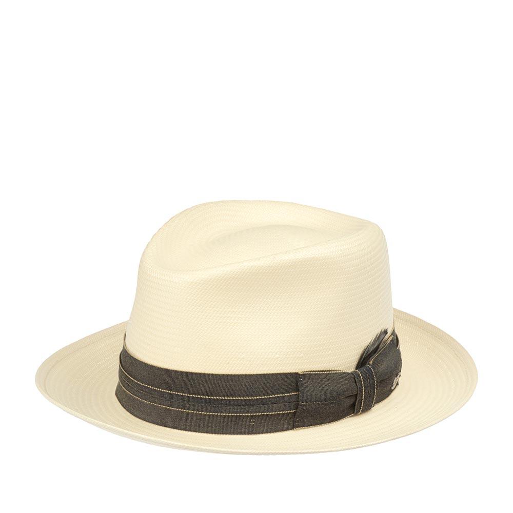 Шляпа федора BAILEYШляпы<br>ANDERSON - летняя федора от BAILEY, изготовленная из шантунга по технологии Litestraw. Эта технология делает шляпу прочной, гибкой и водоотталкивающей. Аксессуар имеет жёсткую форму и абсолютно гладкую, и очень приятную на ощупь поверхность. Тулью украшает широкая лента с бантом, на котором пришит логотип BAILEY. Внутри пришита мягкая трикотажная лента для комфортной посадки по голове. Поля зафиксированы в положение вверх, но их можно регулировать по своему вкусу и предпочтению. Их ширина - 6,5 см. Высота тульи - 9,5 см. Производство - США.