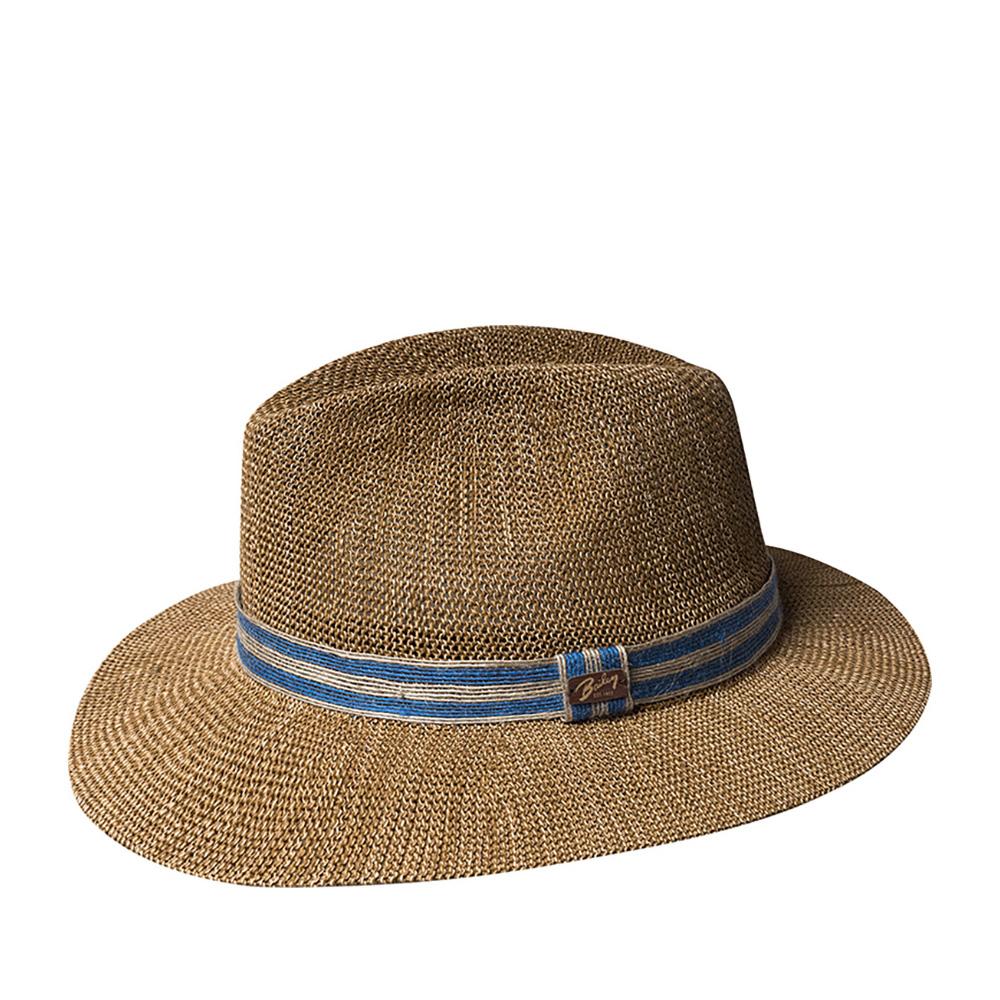 Шляпа федора BAILEYШляпы<br>TORSLEF - летняя федора от BAILEY, изготовленная из бумаги с добавлением синтетических нитей, за счет чего головной убор прекрасно держит форму. Тулью украшает льняная лента с прикрепленным на ней логотипом BAILEY. Эта шляпа станет незаменимым летним аксессуаром в вашем гардеробе. Внутри по окружности пришита хлопковая лента для Вашего удобства. Высота тульи - 11 см. Ширина полей - 6,5 см.
