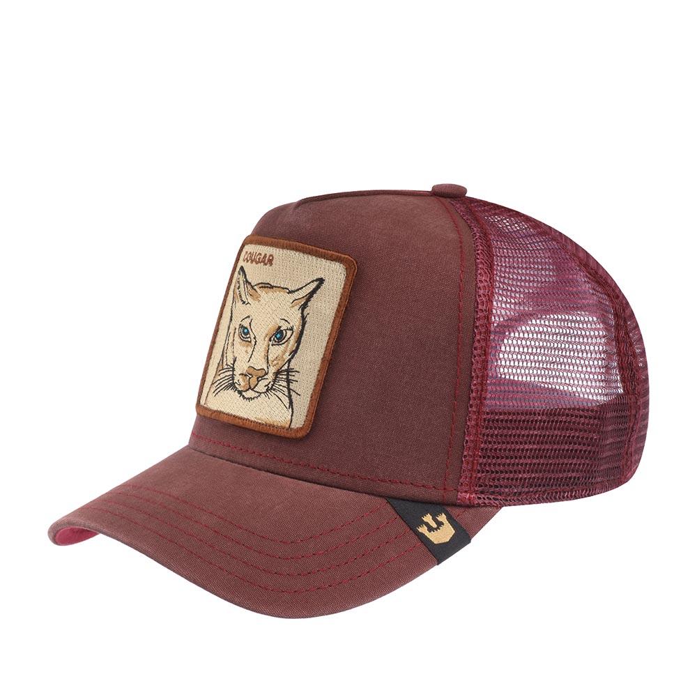 """Бейсболка с сеточкой GOORIN BROTHERSБейсболки<br>Cougar - бейсболка из коллекции Animal Farm (Наша ферма) для смелых и дерзких. Регулируется по охвату головы. На передней панели выполнена аппликация с изображением загадочной пумы и надпись quot;Cougar"""", имеющая также второе значение в американском сленге: """"Опытная охотница"""", quot;Женщина, предпочитающая молодых парней и шумные вечеринки, несмотря на свой возрастquot;. Длина козырька - 7см. Глубина бейсболки - 11см"""