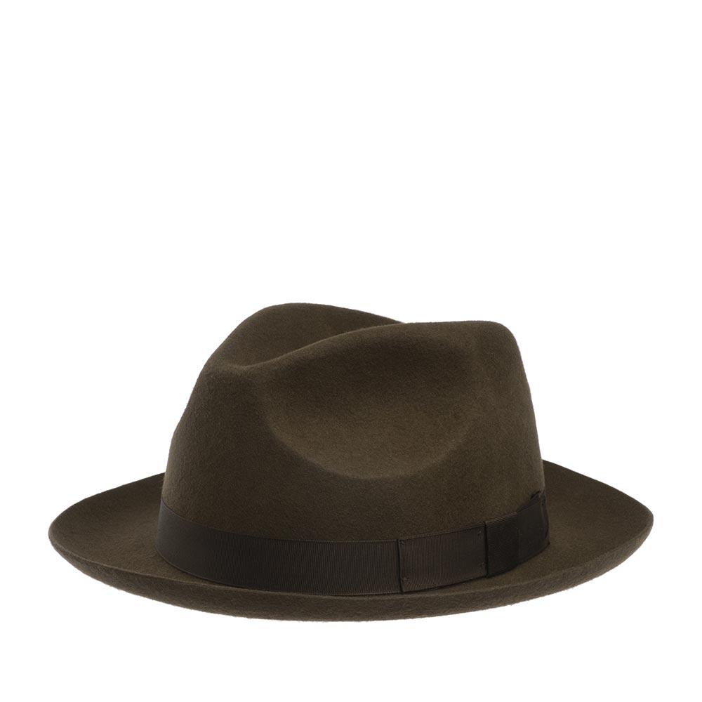 Шляпа федора CHRISTYSШляпы<br>Chepstow - роскошная, универсальная федора от Christys. Модель сделана вручную, в лучших традициях изготовления шляп. Сшита из высококачественной шерсти, о чём свидетельствует обрезной, неотстроченный край поля. Тонкий, лёгкий головной убор очень комфортно садится на голову и удобен при ношении. Аксессур хорошо держит форму, поля зафиксированы в положении вверх, но их легко можно скорректировать по собственному желанию, изогнув переднее поле, или поля по кругу, вниз. Тулья лаконично украшена репсовой лентой с бантом в тон шляпе. Внутри Вы найдёте пришитую по окружности ленту, для удобной посадки на голову, и шелковистую подкладку чёрного цвета с логотипом производителя. На модель приятно смотреть даже когда Вы снимаете шляпу. Высота тульи - 11,5 см, ширина полей - 6 см.