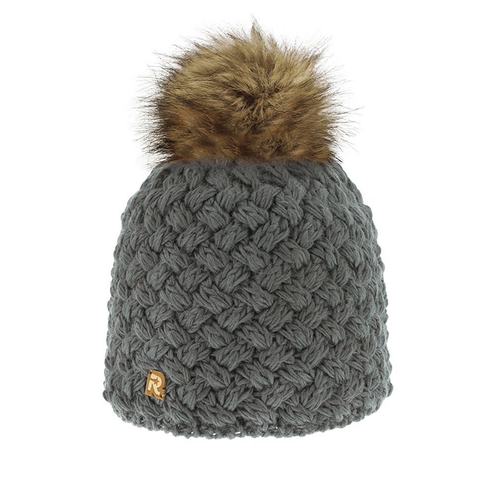 Шапка с помпоном R MOUNTAINШапки<br>Тёплая шерстяная шапка классического серого цвета с коричневым помпоном из НАТУРАЛЬНОГО МЕХА. Идеальна для зимних холодов, внутри имеет флисовую подкладку, для самой комфортной посадки на голову и удобной носки. Мягкий цвет, а также фасон шапки придаёт образу своей обладательницы необычайную нежность и женственность, а приятный на ощупь материал дарит ощущение тепла и комфорта. Сочетать этот головной убор можно с любыми цветами гардероба. Помпон выполнен из натурального меха енота.