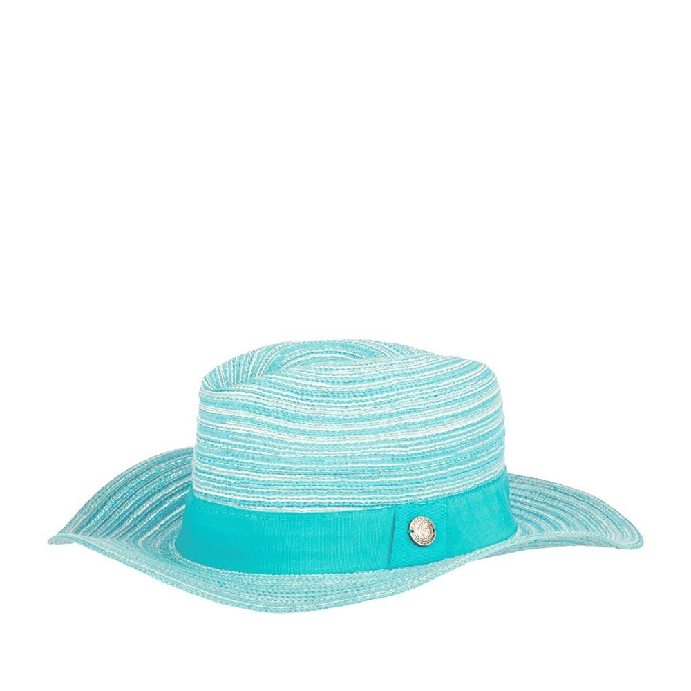 Шляпа федора R MOUNTAINШляпы<br>Шляпа федора с достаточно широкими полями. Яркий голубой цвет добавит морской романтики вашему гардеробу и создаст для вас самое позитивное настроение.