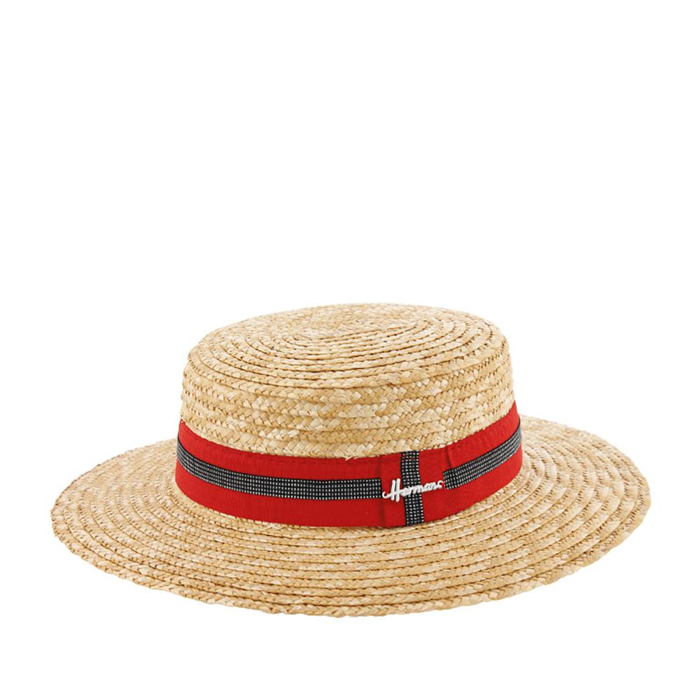 Шляпа канотье HERMANШляпы<br>Boater - элегантная шляпа канотье. Изготовлена из плоских соломенных косичек, свернутых и сшитых между собой в форме спирали. На широкую красную ленту, которая украшает тулью, пришита более тонкая черно-белая, с узором в мелкую клетку. На ленте сбоку перетяжка с логотипом бренда Herman. Натуральный материал шляпы хорошо защищает голову от перегревания. Шляпа отлично подойдет для загородной прогулки или для пляжного отдыха. Поля шириной 8 см. Высота тульи - 7 см.