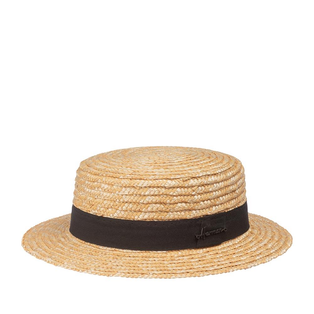 Шляпа HERMAN арт. BOATER 006 (бежевый / черный)