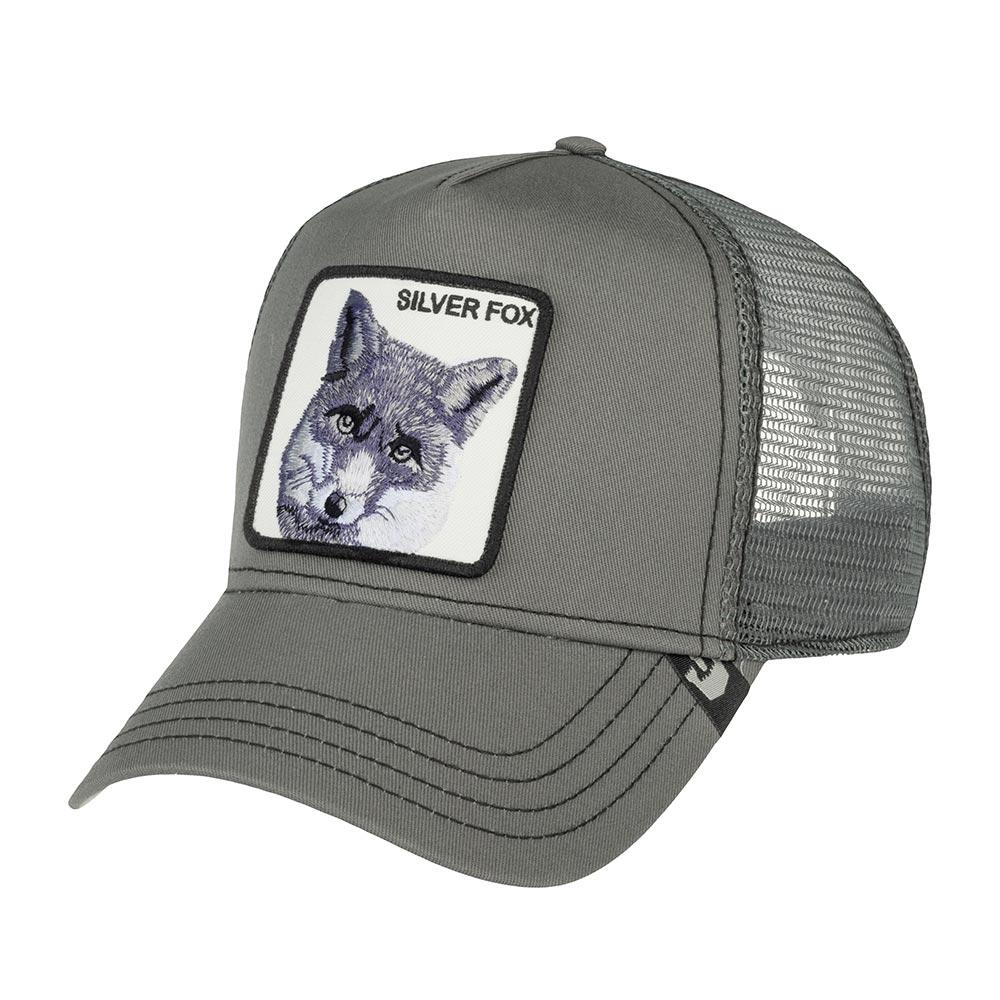 """Бейсболка с сеточкой GOORIN BROTHERSБейсболки<br>Silver Fox - бейсболка из коллекции Animal Farm (Наша ферма) для смелых и дерзких. Регулируется по охвату головы. На передней панели выполнена аппликация с изображением лиса и надпись """"Silver Fox"""", имеющая два значения. В классическом переводе это означает quot;Чернобурый лисquot;, а в американском сленге: quot;Физически привлекательный мужчина quot;респектабельногоquot; возрастаquot;. Эпатаж в духе современной молодёжи. Длина козырька - 7см. Глубина бейсболки - 11см."""