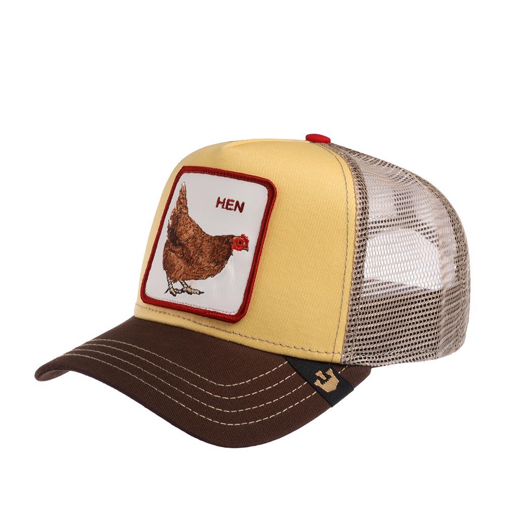 Бейсболка с сеточкой GOORIN BROTHERSБейсболки<br>HEN - бейсболка из коллекции Animal Farm (Наша ферма) от GOORIN BROTHERS. На передней панели цвета желтка - белая нашивка: рыжая курица наклонилась немного вперед и с интересом наблюдает с кепки - quot;что же происходит?quot;. Рядом с птицей надпись - quot;HENquot;. Кроме прямого перевода - quot;курицаquot;, есть и слэнговое значение - в английском языке так шутливо называют женщину. Бейсболка для склонных к самоиронии - в духе современности. Головной убор регулируется сзади по размеру головы при помощи пластиковой застежки. Длина козырька -7 см. Глубина бейсболки 11 см.